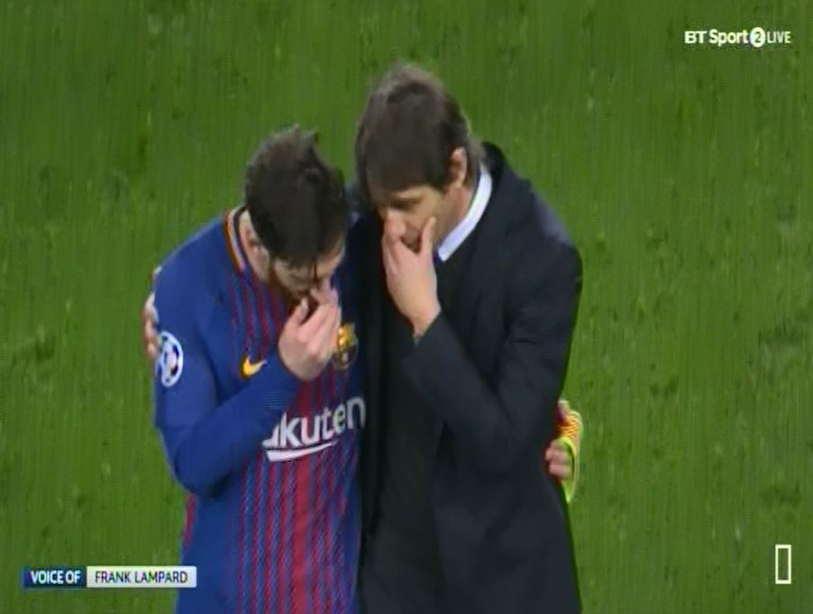 Antonio Conte left the pitch with Lionel Messi after Chelsea's defeat to Barcelona. (BT Sport)