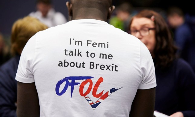 Femi wearing a t-shirt that reads 'I'm Femi talk to me about Brexit'