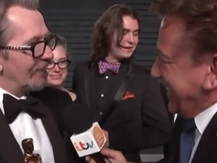 Gary Oldman almost ignores Good Morning Britain's Ross King at Vanity Fair party before awkward interview