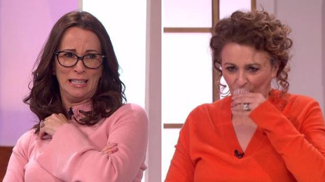 Watch Nadia Sawalha and Kaye Adams drink their own wee live on Loose Women