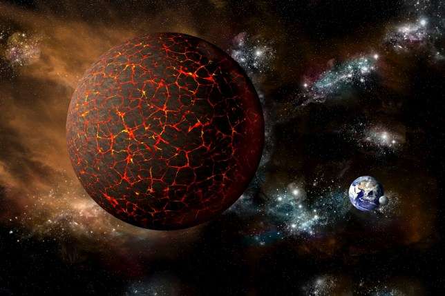 A depiction of the mythical planet known as Nibiru, or Planet X, as it hurtles toward a cataclysmic rendezvous with Earth.