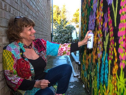 'Graffiti Granny' becomes local celebrity for her love of street art