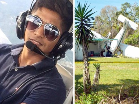 Man fighting for life after his plane crashed head first into house