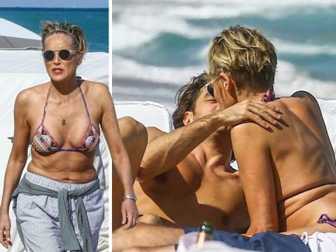 Sharon Stone celebrates turning 60 with toyboy boyfriend on the beach