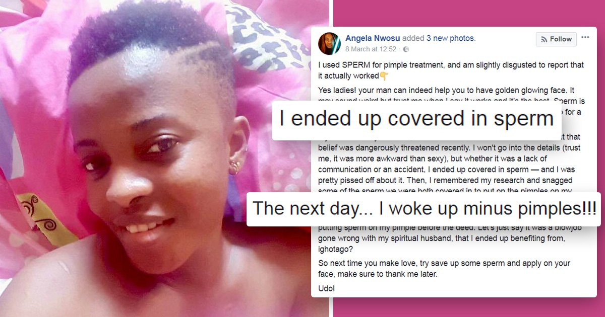 Sex blogger says a semen facial cleared her spots