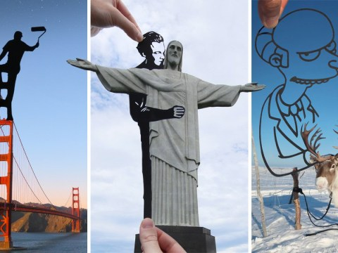 Landmarks photobombed by paper cutouts make for excellent photos