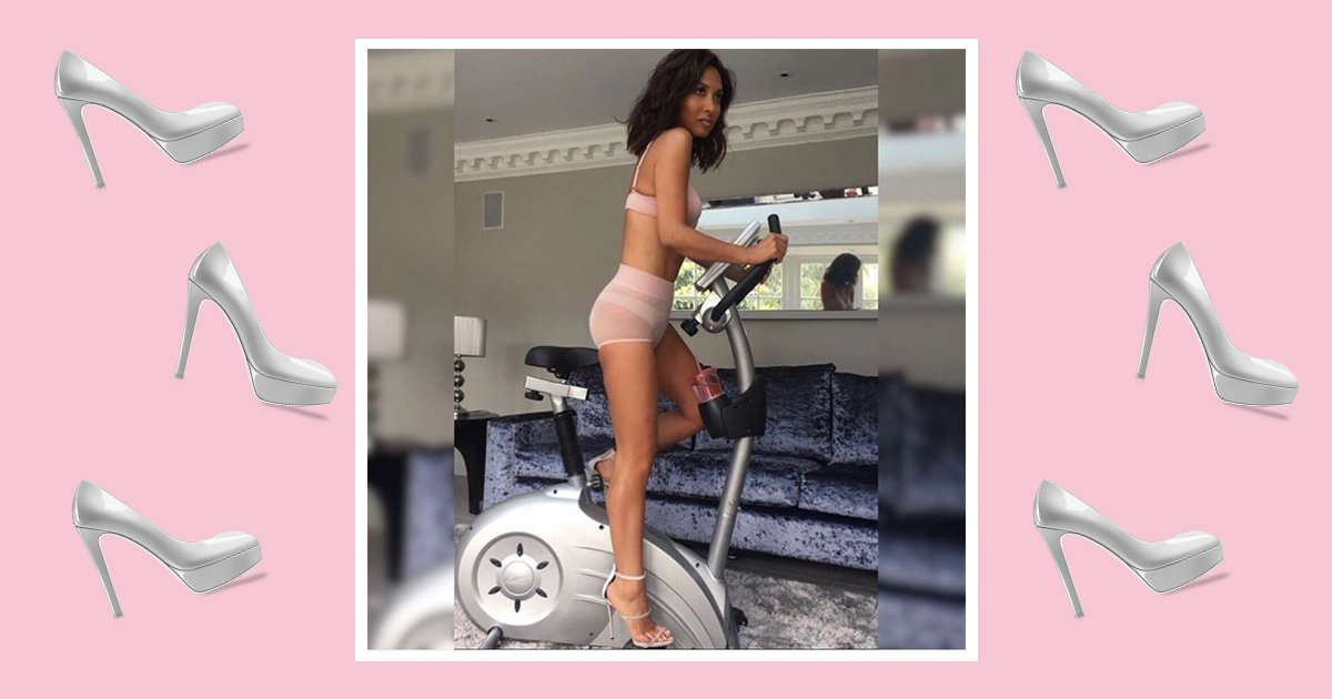 Myleene Klass makes working out look glam as she hops on an exercise bike in heels
