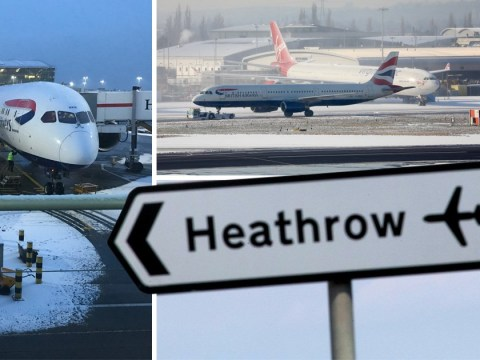 More than 70 Heathrow flights cancelled as snow causes havoc in UK