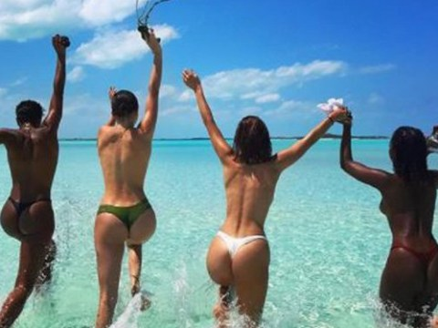 Bella Hadid and Kendall Jenner are living their best lives in cheeky topless snap