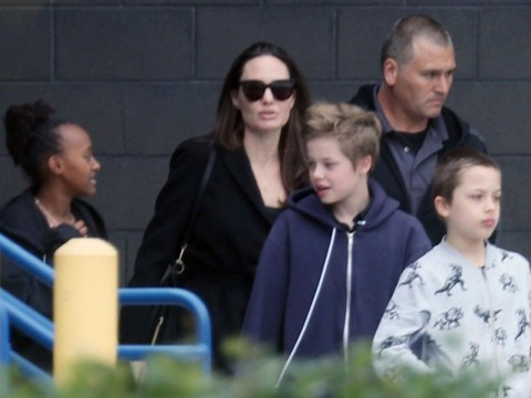 Angelina Jolie takes her kids to see the new Tomb Raider film in Hollywood
