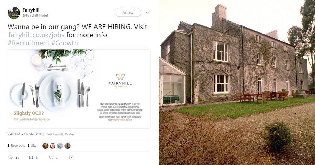 Wedding venue slammed for job advert which asked 'slightly OCD' people to apply