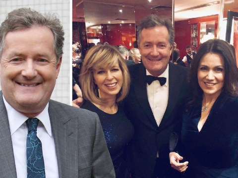 Piers Morgan is a 'rose between two thorns' as he poses with Susanna Reid and Kate Garraway