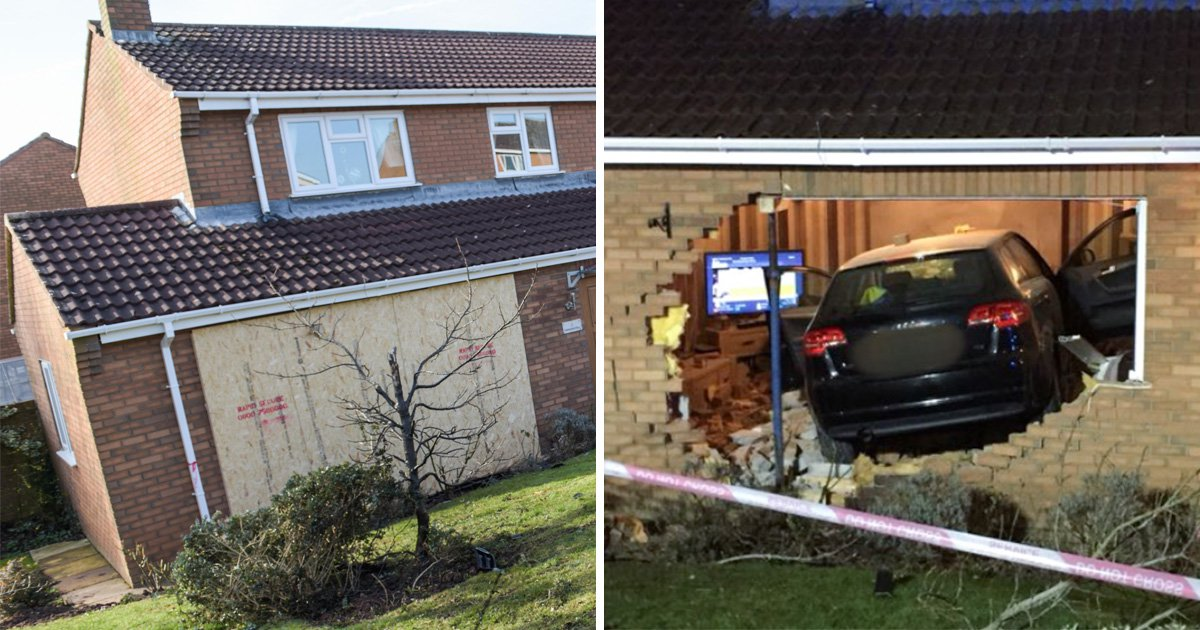 Car crashed straight through living room wall as family were watching TV