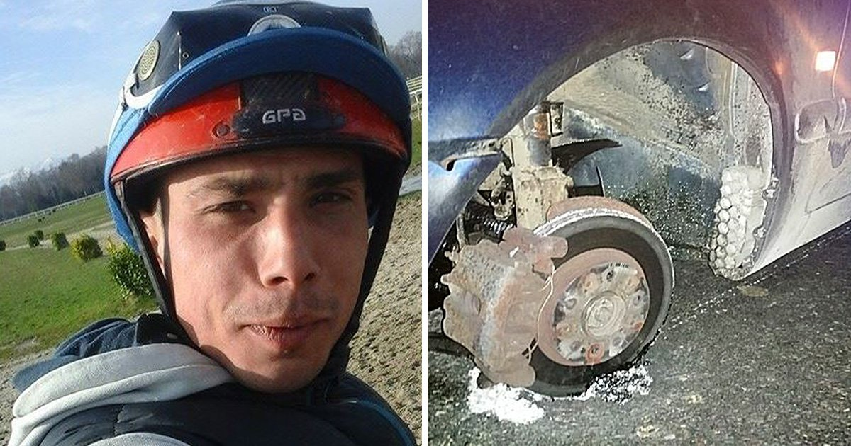 Drunk jockey drove his car for two miles on three wheels and stopped for a nap in the road