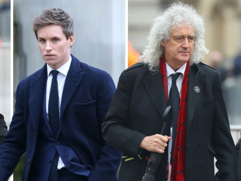 Eddie Redmayne, Felicity Jones and Brian May arrive to pay tribute at Stephen Hawking's funeral