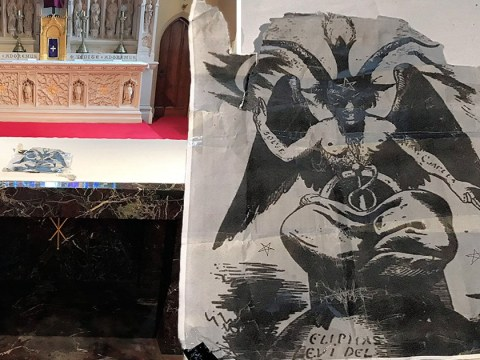 Teen, 17, arrested after church set on fire and satanic image left on the altar