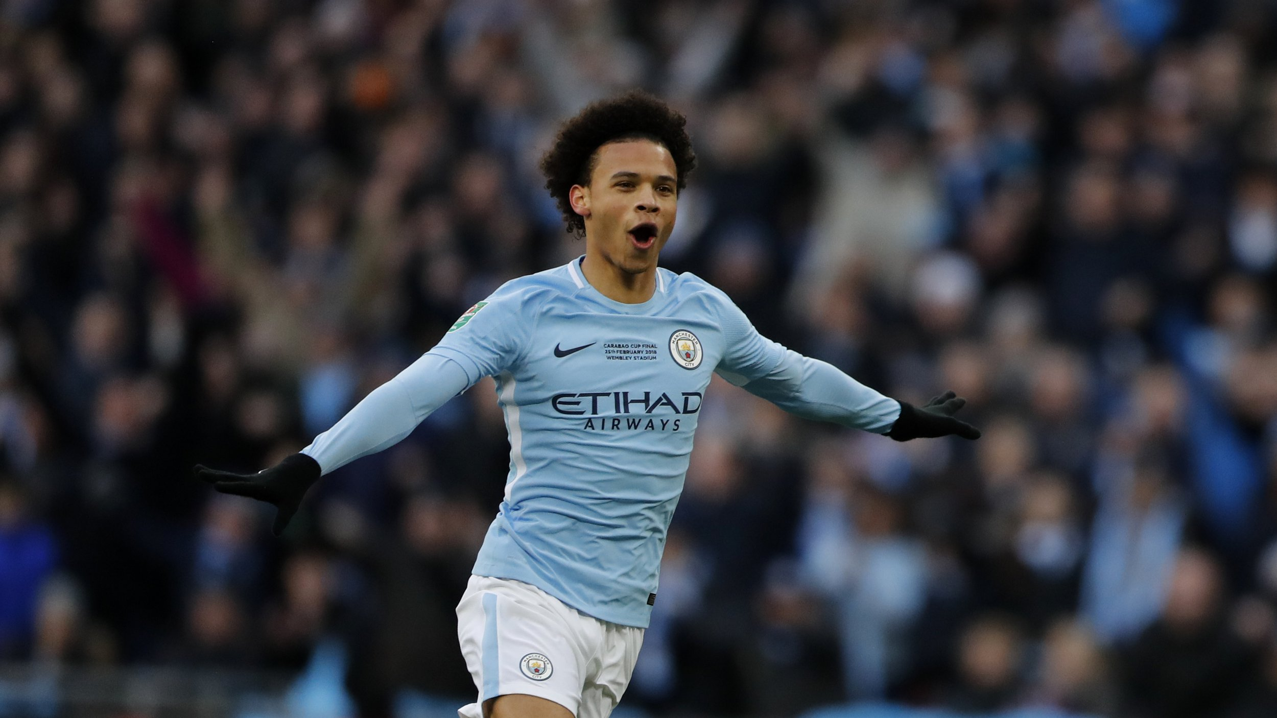 Manchester City's Leroy Sane during the English League Cup final soccer match between Arsenal and Manchester City at Wembley Stadium in London, Sunday, Feb. 25, 2018.(AP Photo/Frank Augstein)