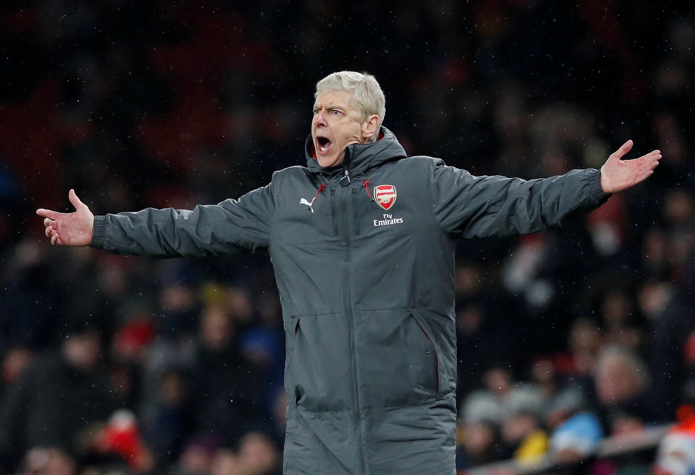 "Soccer Football - Premier League - Arsenal vs Manchester City - Emirates Stadium, London, Britain - March 1, 2018 Arsenal manager Arsene Wenger reacts REUTERS/David Klein EDITORIAL USE ONLY. No use with unauthorized audio, video, data, fixture lists, club/league logos or ""live"" services. Online in-match use limited to 75 images, no video emulation. No use in betting, games or single club/league/player publications. Please contact your account representative for further details."