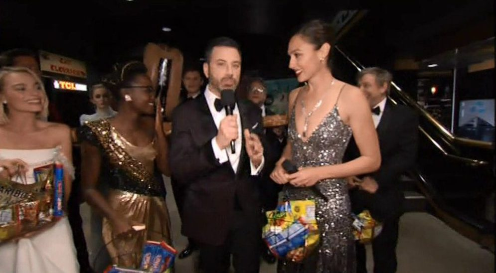 Jimmy Kimmel rounds up his A-list mates to surprise film fans live on TV during Oscars