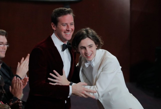 90th Academy Awards - Oscars Show - Hollywood, California, U.S., 04/03/2018 - Call Me By Your Name stars Armie Hammer (L) and Timothee Chalamet embrace during the Oscars show. REUTERS/Lucas Jackson
