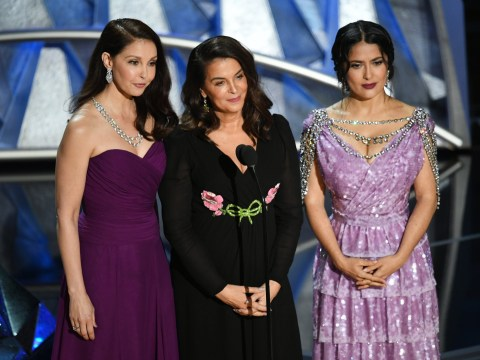 Weinstein accusers Salma Hayek, Ashley Judd and Annabella Sciorra introduce emotional Me Too segment at Oscars