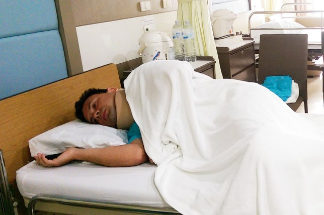 Pics from Caters News - (PICTURED: Anton Frolov in hospital after breaking his neck.) A dad-of-two was given paracetamol for his broken neck after doctors dismissed his crippling pain for THREE MONTHS. Anton Frolov, 36, was swimming on holiday when he banged his head on the seabed in Phuket, Thailand, fracturing his neck. Despite being given the all clear while on holiday, Anton decided to visit his local A&E two days later when he returned home to Edenbridge, Kent. After being transferred from Edenbridge and District War Memorial Hospital to Tunbridge Wells Hospital for further care, Anton claims he was sent home with mild pain killers and no further tests. ENDS - SEE CATERS COPY