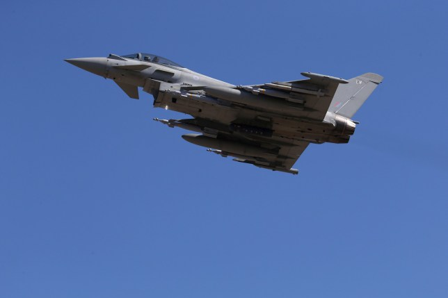 This photo taken on September 22, 2016 shows a Britain's Royal Air Force Eurofighter Typhoon fighter jet taking off from RAF's Akrotiri base in Cyprus, for a coalition mission over Iraq. British Tornado and Typhoon aircraft stationed at a UK air base in Cyprus are pounding Islamic State targets ahead of a major offensive by Iraqi security forces next month to recapture the key northern city of Mosul, a senior Royal Air Force officer said. Air Commodore Sammy Sampson said Iraqi forces are confident they can retake the countrys second-largest city from IS and that British warplanes will provide the needed support. / AFP / POOL / Petros Karadjias (Photo credit should read PETROS KARADJIAS/AFP/Getty Images)