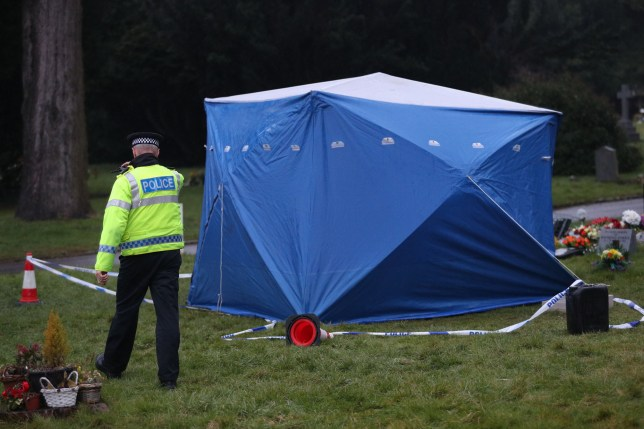 A tent erected at the London Road cemetery in Salisbury, Wiltshire, over the memorial stone of Alexandr Skripal, the son of former Russian double agent, Sergei Skripal who along with his daughter Yulia, was found slumped on a bench in Salisbury, critically ill by exposure to a nerve agent. PRESS ASSOCIATION Photo. Picture date: Friday March 9, 2018. See PA story POLICE Substance. Photo credit should read: Andrew Matthews/PA Wire