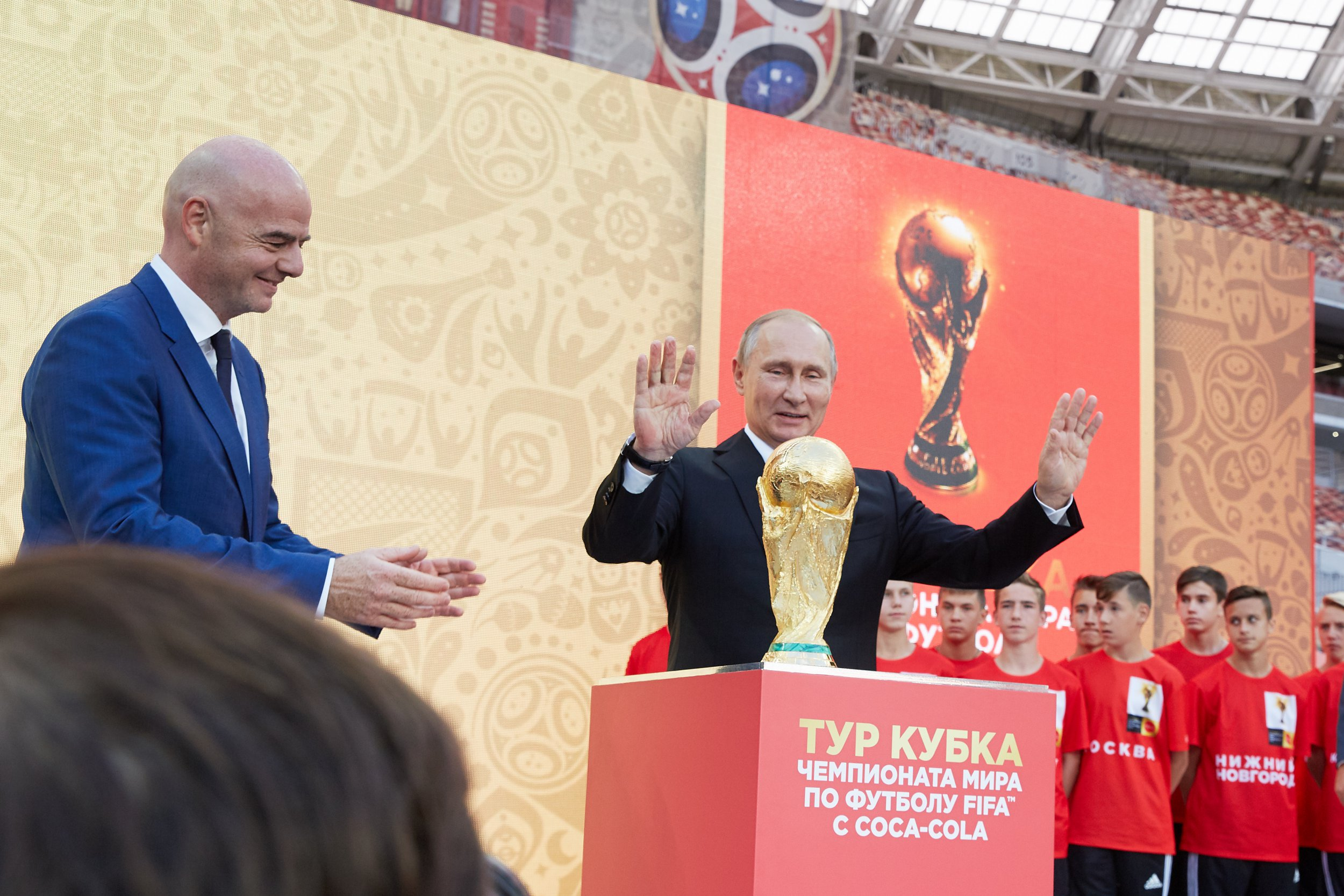 MOSCOW, RUSSIA - SEPTEMBER 09: FIFA President Gianni??Infantino and President of Russian Federation Vladimir Putin stay on the stage with a Trophy during FIFA World Cup Trophy Tour at Luzhniki stadium on September 9, 2017 in Moscow, Russia. (Photo by Oleg Nikishin - FIFA/FIFA via Getty Images)