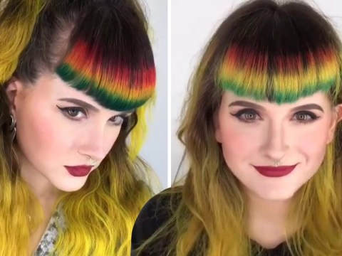 Get your paintbrushes ready because rainbow fringe is the new hair trend