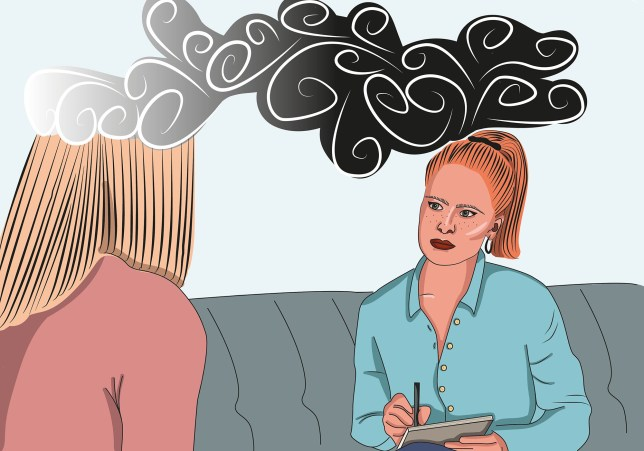 Illustration of a women talking to a therapist