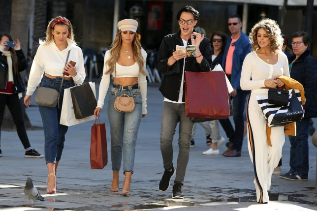 13 March 2018. TOWIE cast are seen filming in the streets of Barcelona. Pictured, Georgia Kousoulou, Lauren Pope, Bobby Norris, Chloe Lewis Credit: GoffPhotos.com Ref: KGC-320/441