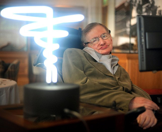 File photo dated 25/02/12 of Professor Stephen Hawking, who has died aged 76, posing beside a lamp titled 'black hole light' by inventor Mark Champkins, presented to him during his visit to the Science Museum in London. PRESS ASSOCIATION Photo. Issue date: Wednesday March 14, 2018. See PA story DEATH Hawking. Photo credit should read: Anthony Devlin/PA Wire