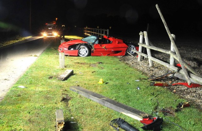 Undated handout photo issued by the Crown Prosecution Service (CPS) of a high-performance Ferrari F50 shown in court, which Matthew Cobden, of Long Lodge Drive, Walton-on-Thames, Surrey, lost control of causing it to crash and launch into the air, killing 13-year-old Alexander Worth in North Warnborough, Hampshire, on August 22 2016, Winchester Crown Court has heard. PRESS ASSOCIATION Photo. Issue date: Monday February 19, 2018. See PA story COURTS Ferrari. Photo credit should read: Crown Prosecution Service/PA Wire NOTE TO EDITORS: This handout photo may only be used in for editorial reporting purposes for the contemporaneous illustration of events, things or the people in the image or facts mentioned in the caption. Reuse of the picture may require further permission from the copyright holder.