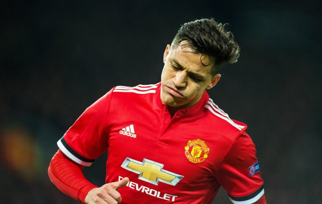 epa06603002 Alexis Sanchez of Manchester United reacts during the UEFA Champions League round of 16 second leg soccer match between Manchester United and Sevilla FC at Old Trafford in Manchester, Britain, 13 March 2018. Sevilla won 2-1 on aggregate. EPA/PETER POWELL
