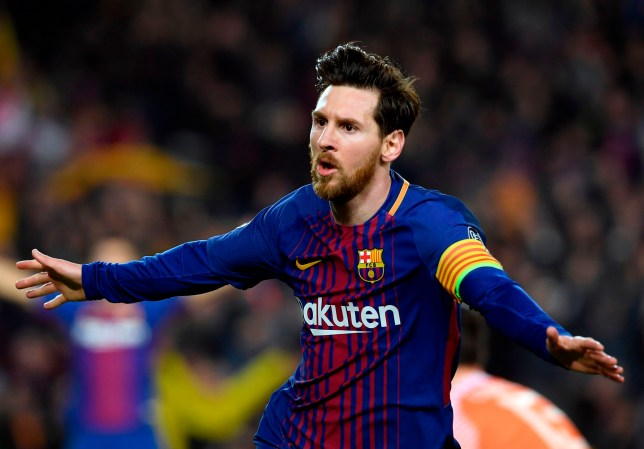Barcelona's Argentinian forward Lionel Messi celebrates a goal during the UEFA Champions League round of sixteen second leg football match between FC Barcelona and Chelsea FC at the Camp Nou stadium in Barcelona on March 14, 2018. / AFP PHOTO / LLUIS GENELLUIS GENE/AFP/Getty Images
