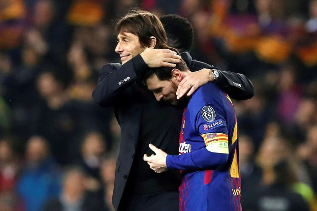 epa06604646 Chelsea's head coach Antonio Conte (L) congratulates FC Barcelona's Lionel Messi (R) after a UEFA Champions League round of 16 second leg soccer match between FC Barcelona and Chelsea FC at the Camp Nou stadium in Barcelona, Spain, 14 March 2018. EPA/Alberto Estevez