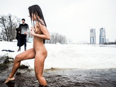 Woman says jogging naked in snow every weekend is the secret to looking young