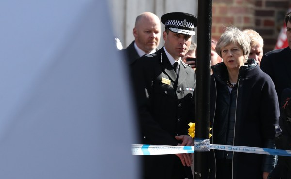 Prime Minister Theresa May, with Wiltshire Police Chief Constable Kier, in Salisbury as she views the area of the suspected nerve agent attack on Russian double agent Sergei Skripal and his daughter Yulia. PRESS ASSOCIATION Photo. Picture date: Thursday March 15, 2018. See PA story POLICE Substance. Photo credit should read: Andrew Matthews/PA Wire