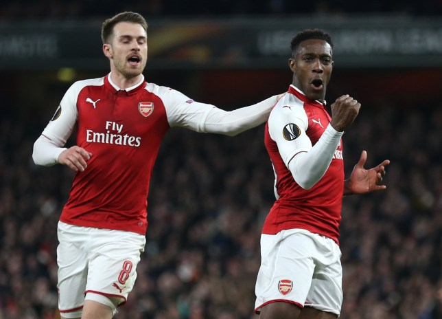 Arsenal's Danny Welbeck (right) celebrates scoring his side's first goal of the game during the UEFA Europa League round of 16, second leg match at the Emirates Stadium, London. PRESS ASSOCIATION Photo. Picture date: Thursday March 15, 2018. See PA story SOCCER Arsenal. Photo credit should read: Nigel French/PA Wire