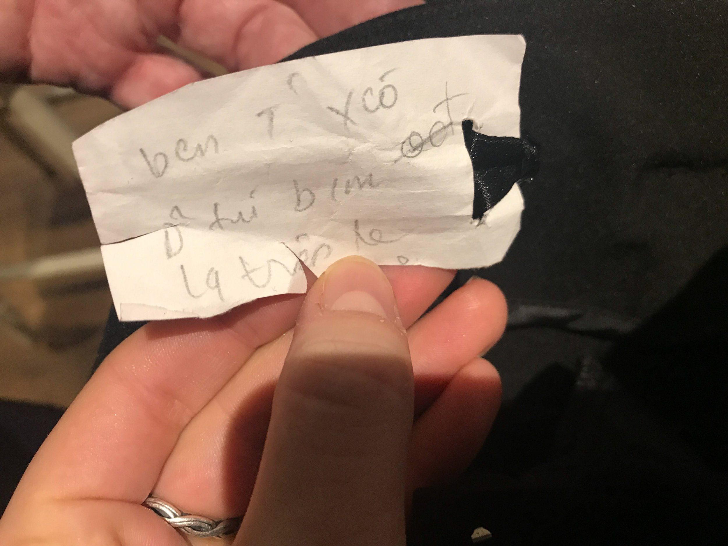 Note inside pair of jeans