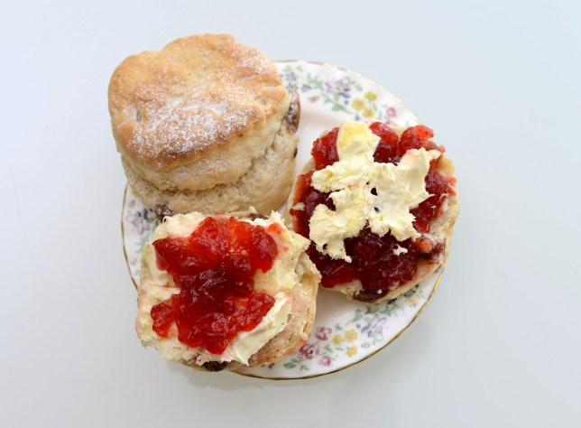 A cream tea prepared both the Cornish and Devon ways - one with cream on top the other with the cream underneath. See SWNS story SWCREAM; A long-running cream tea debate which has lasted nearly 1,000 years has apparently finally been settled - by the QUEEN. Cream teas have been served in the UK since the 11th century and the dispute about whether cream or jam goes on the scone first has split the nation ever since. The war-of-words has particularly divided people in Devon and Cornwall - with Devonians preferring cream first and Cornwall jam first. But the debate may now officially be over after officials revealed the Queen's apparent preference.