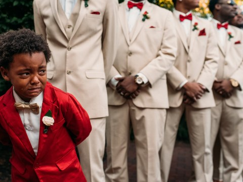 This boy crying as his mum walks down the aisle is just too adorable