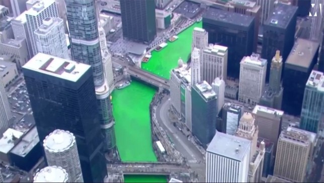 Chicago has turned its entire river bright green for St Patrick???s Day METRO GRAB taken from Metro.co.uk Facebook live Credit: Metro.co.uk