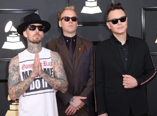 LOS ANGELES, CA - FEBRUARY 12: (L-R) Musicians Travis Barker, Matt Skiba and Mark Hoppus of Blink-182 arrive at The 59th GRAMMY Awards at Staples Center on February 12, 2017 in Los Angeles, California. (Photo by Dan MacMedan/WireImage)