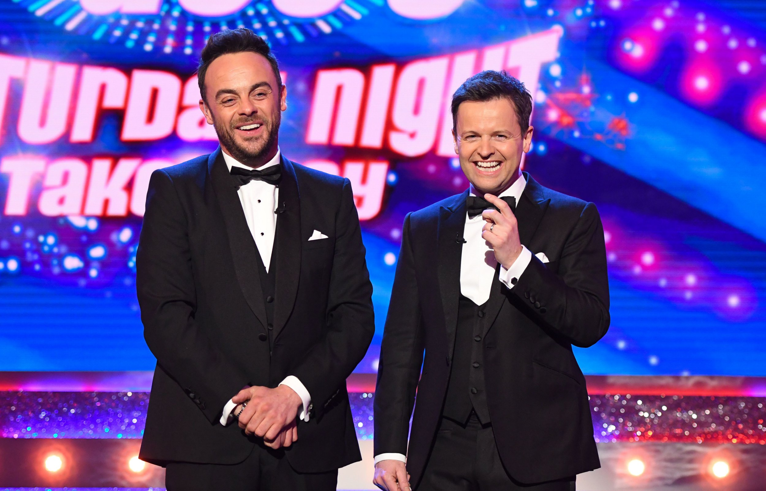 Who is hosting Saturday Night Takeaway with Dec and what celebrity guests are on the show this weekend?