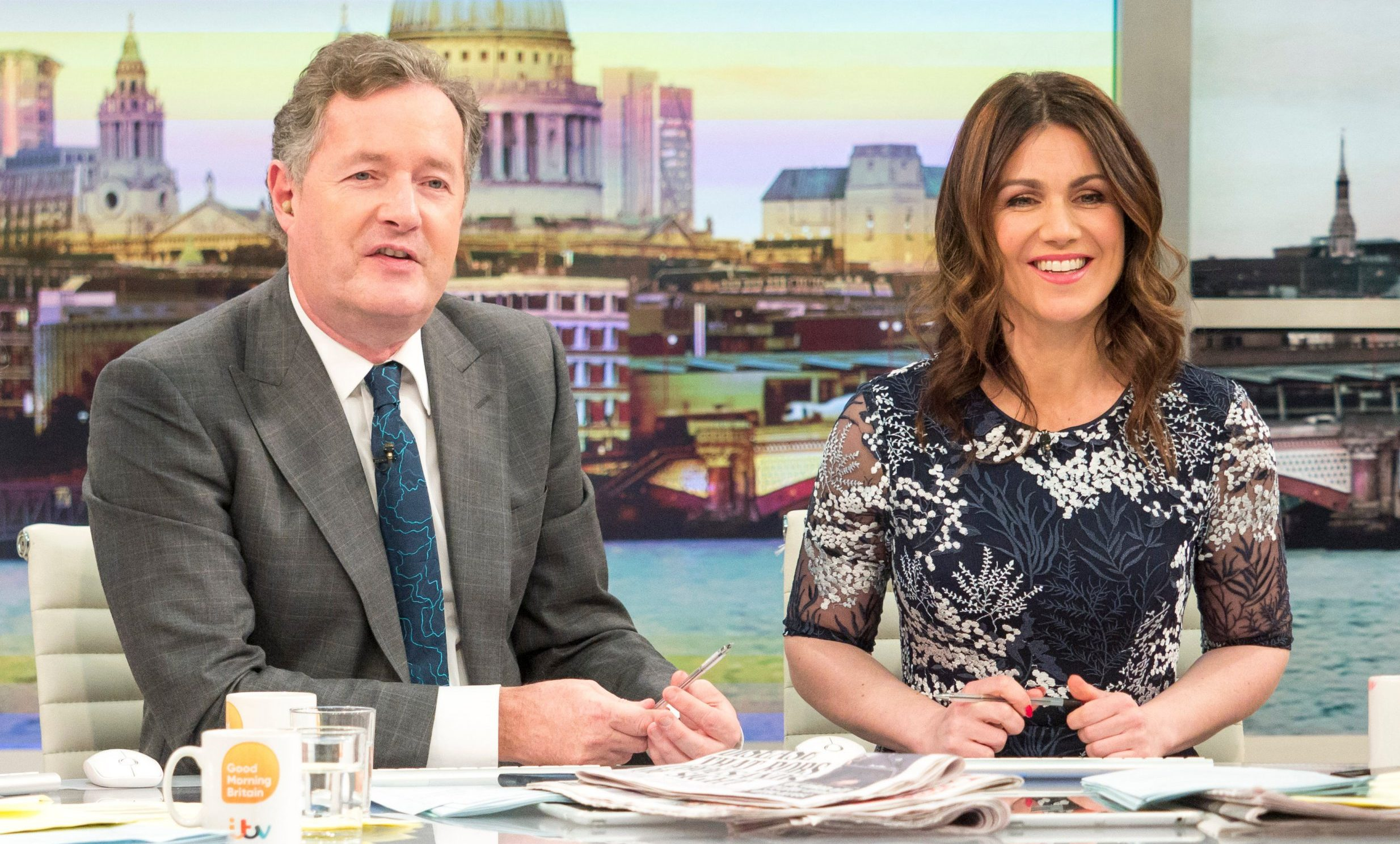 EDITORIAL USE ONLY. NO MERCHANDISING Mandatory Credit: Photo by S Meddle/ITV/REX/Shutterstock (9471177bl) Piers Morgan and Susanna Reid 'Good Morning Britain' TV show, London, UK - 20 Mar 2018