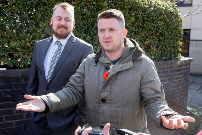 Mark Meechan (left) and Tommy Robinson speak to the media at Airdrie Sheriff Court for Mark Meechan trail. March 20 2018. See Centre Press story CPNAZI; A man who taught his girlfriend's pet pug to give Nazi salutes to be sentenced for the hate crime as Tommy Robinson arrives to offer moral support.