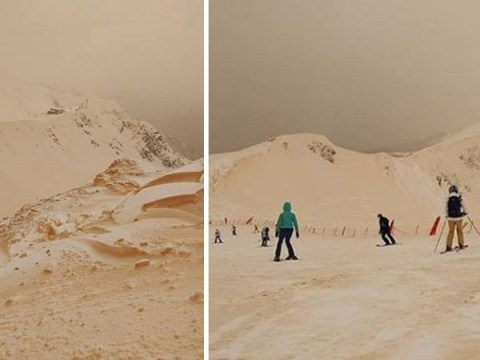 Snow turns orange after mixing with Saharan sand then falling on ski resorts