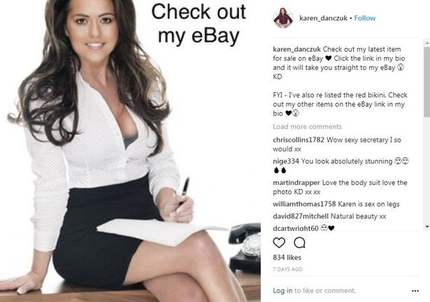Self-styled ?selfie queen? Karen Danczuk is auctioning off her bikinis on eBay. The former Rochdale councillor is selling a medium-sized white Bahimi bikini bottoms and large-size top online with bids now up to ?46. caption: Karen Danczuk is auctioning off her bikinis on eBay
